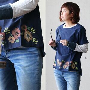 半袖 ブラウス シャツ 水彩 プリント 刺繍 デザイン 綿100% ホワイト ネイビー カジュアル レディース 女性 女性用 重ね着