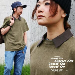 Tシャツ 半袖 「リブ スキッパー衿 付き」 丸胴編み 顔料染め USAコットン 5.5オンス 綿100% メンズ レディース 女性用 カジュアル 重ね着 ポロシャツ