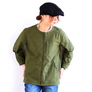 七分袖 ブルゾン ジャケット ノーカラー MA-1 綿100% ツイル デニム ノンストレッチ メンズ レディース 女性用 アウター カジュアル ミリタリー 春アウター