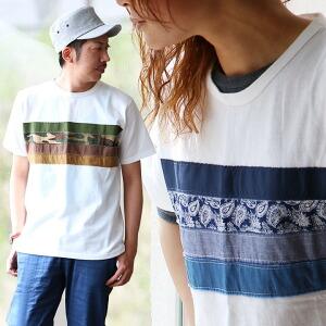 Tシャツ 半袖 パッチワーク 切替 異素材 カットソー レディース メンズ 夏 春 ティーシャツ カジュアル