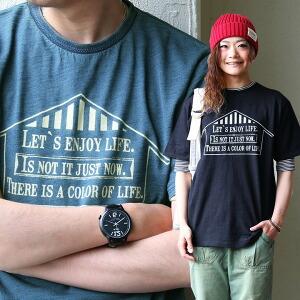 インディゴ染め 半袖 Tシャツ プリント ジャガードリブ レディース メンズ 夏 夏用 夏物 涼しい