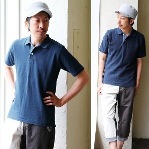 ポロシャツ インディゴ染め 半袖 ベーシック 父の日 バースデイ ギフト レディース メンズ 夏 夏物 夏服 涼しい