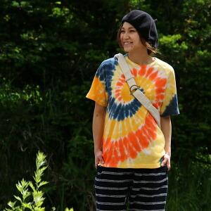 タイダイ ラグラン 半袖 Tシャツ TEE クルーネック レディース メンズ 夏 夏物 夏服 涼しい クールマックス