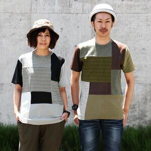 パッチワーク Tシャツ 半袖 生地切替 クルーネック クールマックス レディース メンズ 夏 夏物 夏服 涼しい