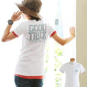 Tシャツ TEE 半袖 バックプリント プリントT ストレッチ 切替 配色 レディース メンズ 夏 夏物 コットン100%