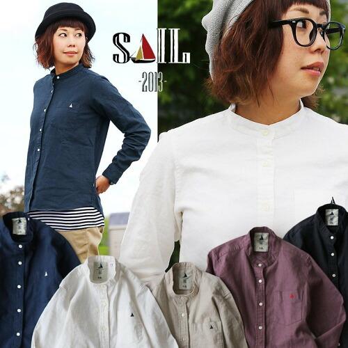(セイル) SAIL 日本製 長袖 無地 シャツ ワンポイント バンドカラー リネン コットン オックス