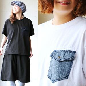 半袖 Tシャツ バンダナ柄 デニム ポケット デザイン 綿100% カジュアル レディース 女性 女性用 アウトドア キャンプ フェス