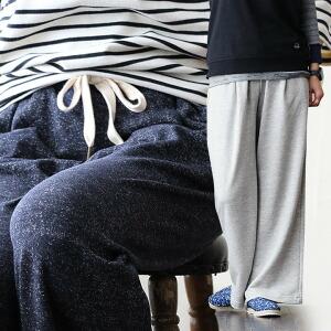 スウェットパンツ ワイドパンツ イージーパンツ ウエストゴム 甘編みスウェット生地 杢グレー ネイビー 女性用 レディースパンツ 春 春服 春物