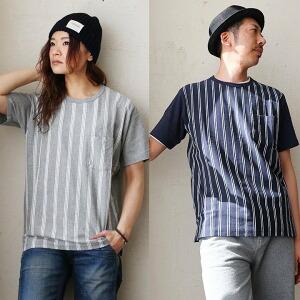 Tシャツ TEE  半袖 クルーネック 「ストライプ 切り替え」胸ポケット 綿100% メンズ レディース カジュアル 春 40代 50代