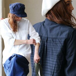 長袖 シャツ ドビー織り柄 後ろ切り替え デザイン 立体 フェイク フラップポケット 綿100% 無地 高瀬貝ボタン スタンダード カジュアル レディース 女性