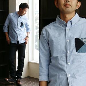 シャツ 7分袖 シャツ オックス生地 別布生地ポケット ボタンダウンデザイン ホワイト ブルー スリムシルエット メンズシャツ レディースシャツ カジュアル