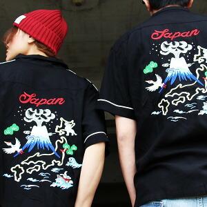 刺繍 スカシャツ ボーリングシャツ JAPAN 半袖 パイピング レディース メンズ 春物 春