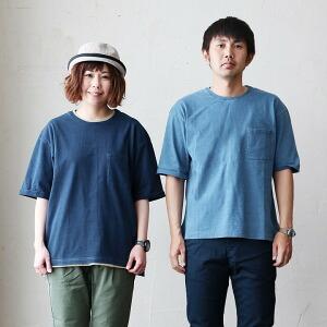Tシャツ TEE ルーズ ゆる シルエット オーバーサイズ インディゴ  レディース メンズ 無地 春物 春服