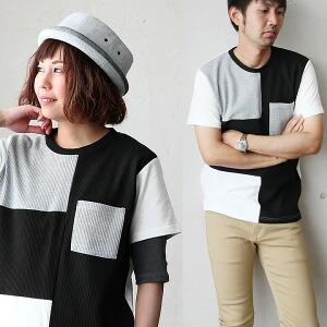 Tシャツ サーマル カット 切替 ポケット 半袖 クレイジー パターン レディース メンズ カジュアル