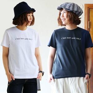 半袖 Tシャツ ロゴ プリント スッキリ シルエット T/C 生地 シンプル カジュアル レディース 女性 女性用 一枚着 アウトドア キャンプ フェス