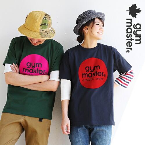 (ジムマスター) gymmaster 半袖 Tシャツ クルーネック サークル ロゴ ワンポイント フロッキー プリント 綿100%