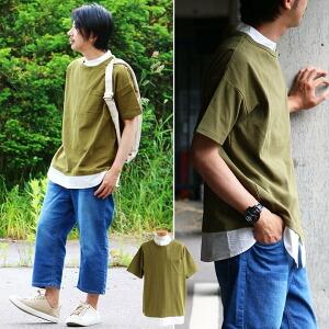 Tシャツ 半袖 シャツ バンドカラー 胸ポケット ビッグシルエット 「フェイクレイヤード 重ね着 風」 タックフライス ブロード メンズ レディース カジュアル トップス 夏服 夏用