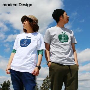 半袖 Tシャツ アップル ロゴ 単色 プリント デザイン 綿100% カジュアル メンズ レディース 夏 夏物