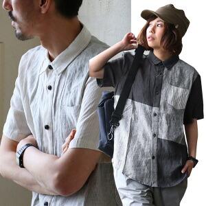 半袖 シャツ クレイジー パッチワーク 切り替え デザイン 麻 リネン 100% 吸水 速乾 涼しい カジュアル メンズ レディース 夏 夏物
