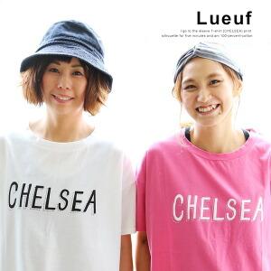 半袖 Tシャツ 【CHELSEA】シンプル ロゴ プリント ゆるシルエット ゆったり 綿100% 日本製 国産 ホワイト ピンク 白 クルーネック カジュアル レディース 女性