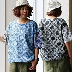 五分袖 プルオーパー クレイジーパターン 切り替え ペイズリー 総柄 デザイン 綿100% 日本製 MADEINJAPAN ゆるシルエット カジュアル レディース 女性 夏 夏物 夏服 涼しい