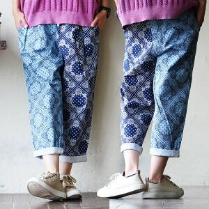 クロップド パンツ クレイジーパターン 切り替え ペイズリー 総柄 デザイン 綿100% 日本製 MADEINJAPAN カジュアル レディース 女性 夏 夏物 夏服 涼しい