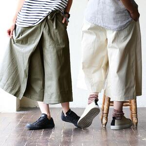 ガウチョ ガウチョパンツ エプロン 巻きスカート風 エプロン ワークポケット 綿100% レディース 女性用 ボトム ワイドパンツ スカーチョ エプロンパンツ カジュアル