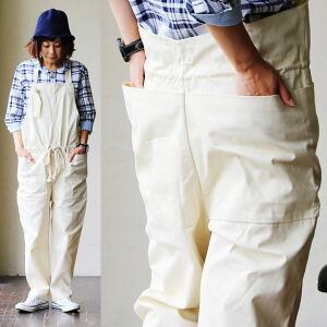 サロペット オールインワン エプロン風 ガーデニング ポケット 綿100% ヘリンボーン レディース 女性用 カジュアル