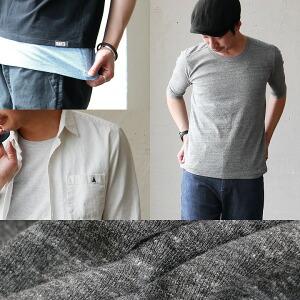 5分袖 Uネック Tシャツ カットソー TEE メンズ レディース 半端袖 春物 重ね着