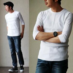 ワッフル カットソー Tシャツ 7分丈 半端袖 クルーネック レディース メンズ 春物 カジュアル 綿100% 大人