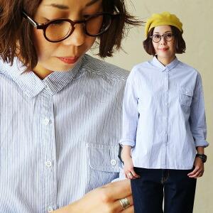 ストライプ シャツ 長袖 スクエアヘムライン 胸ポケット レディース 女性用 夏 夏物 涼しい