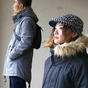 フード脱着 薄綿 モッズコート 中綿 キルティング コート ミリタリー モッズ フェイクファー レディース メンズ 秋冬 冬物