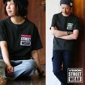 Tシャツ 半袖 クルーネック 『チェーンステッチ』 胸ポケット 綿100% 肉厚 メンズ レディース トップス カジュアル 重ね着 VISION STREET WEAR 夏 夏服