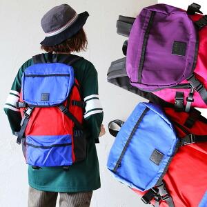 リュック デイバッグ バッグパック ヴィンテージカラー フェイクレザー ナイロン 色切り替え バイカラー 多ポケット 収納可能 アウトドア フェス 旅行