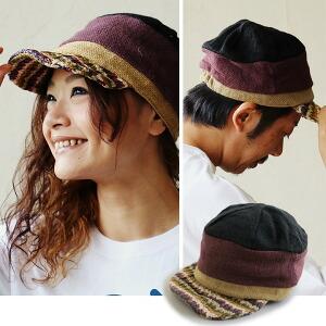 キャスケット 帽子 パネル ジュート素材 麻 × ペーパー 調整可能 TESSキャップ メンズ レディース ユニセックス 春夏 カジュアル