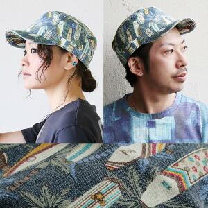キャップ ワークキャップ 総柄 帽子 メンズ レディース キャンバス 夏 夏物