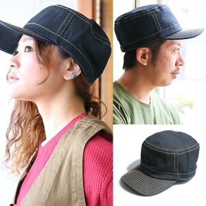 帽子 キャップ ワークキャップ デニムキャップ ベルト調整可能 カラーステッチ メンズ レディース 女性用 男女兼用 日焼け防止 紫外線対策