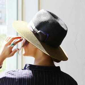 ブレード ハット 配色 切り替え デザイン ツバ広 シンプル リボン付き サイズ調整可能 カジュアル レディース 女性 女性用 日焼け対策 紫外線対策 アウトドア 旅行