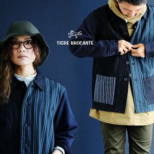 ミックス デニム シャツジャケット シャツ ジャケット ジャガードストライプ インディゴ レディース メンズ 秋冬 冬 冬物
