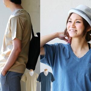 ポケット Tシャツ 半袖 Vネック ピグメント 綿100% レディース メンズ 無地 シンプル 夏 夏物 ヴィンテージ 顔料トップス カジュアル メンズtシャツ カットソー 夏服 春夏 半そで