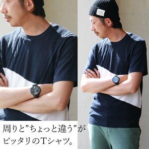 半袖 Tシャツ ニット切り替え クルーネック バイカラー 涼しい シンプル 無地 カジュアル メンズ レディース 夏 夏服