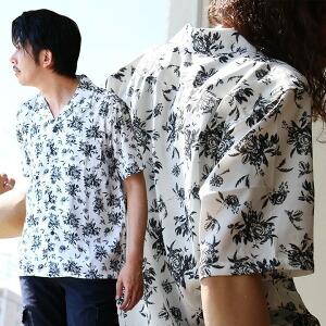 総柄 オープンカラー シャツ フラワー モノトーン 半袖 開襟シャツ ポケット レディース メンズ
