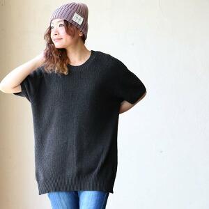 コットン ニット ワイド シルエット クルーネック ざっくり編み 裾ジップ レディース メンズ 夏 夏物 夏服 涼しい