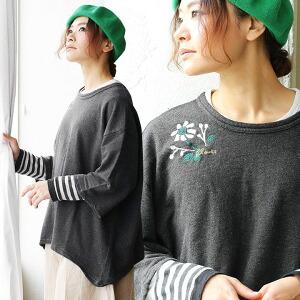 7分袖 刺繍 ゆるシルエット 裏毛 PO プルオーバー ロゴ フラワー モチーフ レディース 女性用 秋 秋物 冬