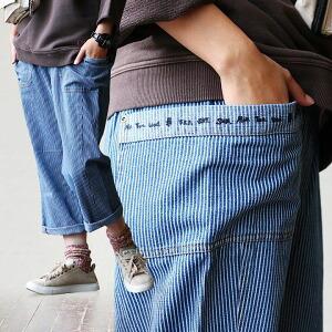 デニム ビッグ ポケット サルエル パンツ ヒッコリー 体型カバー ゆるシルエット ポケット レディース 女性用 オールシーズン