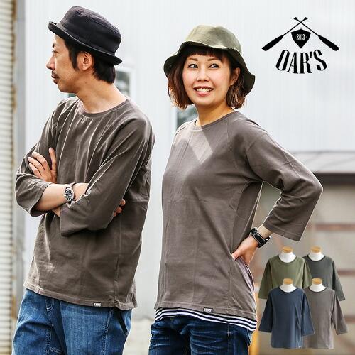 (オールズ) OAR'S カットソー Tシャツ 七分袖 クルーネック 米綿 綿100% ピグメント ウォッシュ加工 おしゃれ 大きいサイズ   春夏