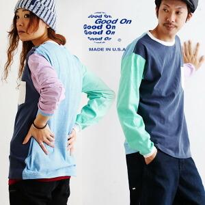 長袖 クレイジー配色 Tシャツ ポケット USAコットン 綿100% ピグメント加工 日本製 カジュアル メンズ レディース ユニセックス 重ね着