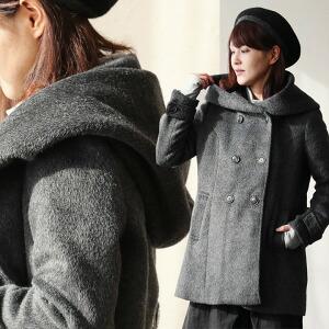 フードコート フード コート ダブルボタン 「モッサ」ウール混 ボリュームフード レディース 女性用 秋冬 冬 冬物