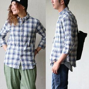 七分袖 シャツ シワ加工 綿麻生地 チェック ブルー ロールアップ仕様 細身 カジュアル メンズ レディース 涼しい
