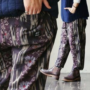 和柄 パッチワーク風 デザイン パンツ イージーパンツ ルームウェア フリース生地 レディース 女性用 秋冬 冬物 冬